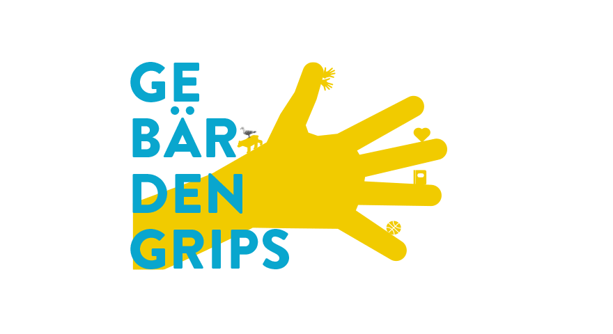 Eine Hand mit dem Text Gebärdengrips